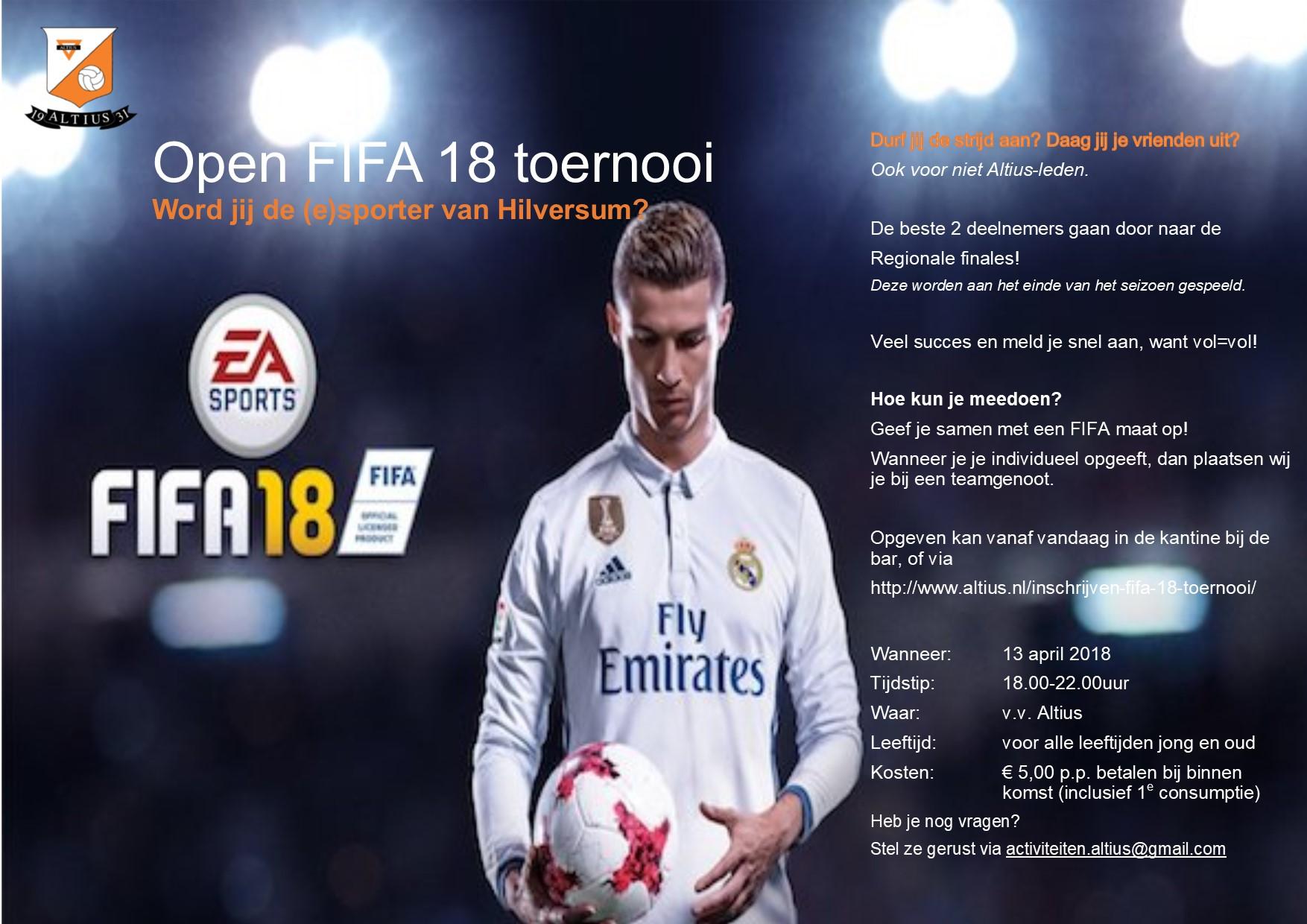 3e editie FIFA 2018 TOERNOOI Inschrijving geopend!!
