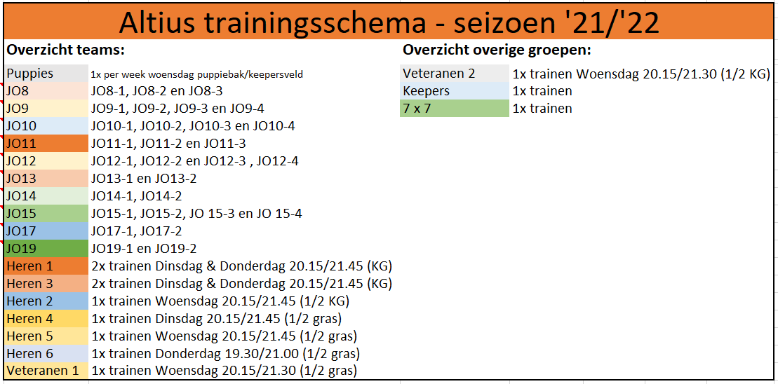 Trainingsschema seizoen 21/22